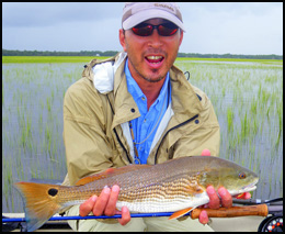 Taishi from Japan with a Redfish